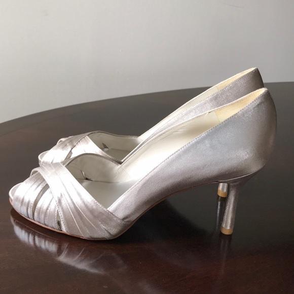 652ce4cfea Stuart Weitzman Shoes | Metallic Gray Velvet Leather Pumps | Poshmark